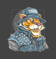 tiger use rocker jacket and bucket hat vector image
