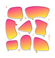 trendy set with speech bubbles in modern gradient vector image vector image