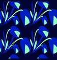 vibrant flowers and blue tulips on a black vector image vector image
