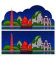 vietnam horizontal panoramic dark night view vector image