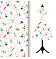 women dress fabric pattern with girls vector image