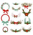 hand drawn christmas wreath vector image