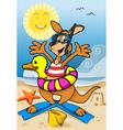 Happy Kangaroo Cartoon on the Beach vector image