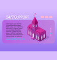 247 support concept web page header design with vector image
