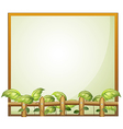 An empty frame with a wooden fence and vine plants vector image vector image