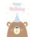 birthday card with bear isolated on white vector image vector image