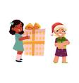 cartoon kids with present gift set vector image vector image