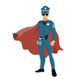 cartoon superhero policeman with red cape vector image