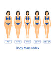 cartoon women slimming stages card poster vector image
