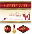 certificate labels and medal - best wine vector image vector image
