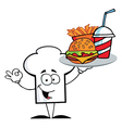 Chef Hat Guy Serving Fast Food vector image vector image