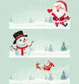christmas banner with santa claus and snowman vector image vector image
