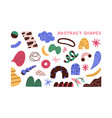 collection colorful doodle objects flat vector image