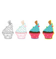 cupcake isolated graphic element for design card vector image