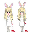 curly long hair girl with rabbit ears holding vector image