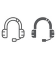 customer service line and glyph icon support and vector image vector image