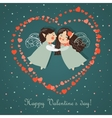 Cute angels embrace vector image vector image