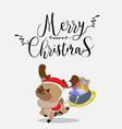 cute reindeer christmas greeting card vector image