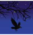Dark crow bird flying over scary halloween night t vector image vector image