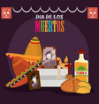 day dead altar with photos frames tequila vector image vector image