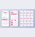 different ui ux gui screens calendar app and vector image