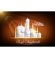 Eid Mubarak background with mosque vector image