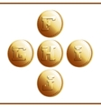 Golden coins with roman letters - part 2 vector image