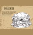 hamburger sketch poster vector image vector image