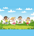 happy jumping children funny cartoon character vector image