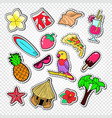hello summer doodle beach vacation stickers vector image