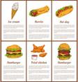 ice cream and burrito set vector image vector image