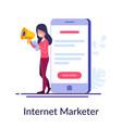 Internet marketer concept work via internet