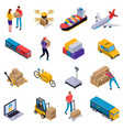 isometric delivery set vector image