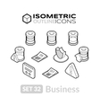 Isometric outline icons set 32 vector image vector image