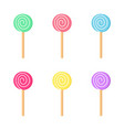 lollipops color set candy on stick with twisted vector image vector image