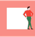 man leaning on white stand vector image vector image