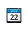 March 22 Calendar icon flat vector image vector image