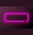 pink neon rectangle frame template on transparent vector image vector image