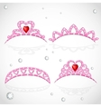 Pink tiaras with diamonds and faceted red stones