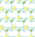 seamless pattern with a glass martini vector image