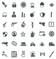 security and weapon icons set vector image vector image