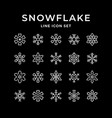 set line icons snowflake vector image vector image