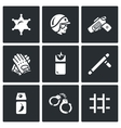 Set of Police Icons Sheriff Law Weapon vector image vector image