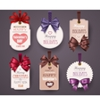 Set Retro Labels with Bows vector image vector image