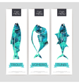 set triangle geometric banners with fish vector image