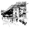 sketch drawing of Kotor street - famous place in vector image vector image