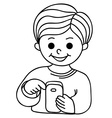 Smiling boy texting with cellular phone vector image vector image
