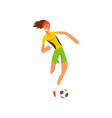 soccer player in green and yellow uniform running vector image vector image