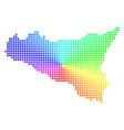 spectral circle dot sicilia map vector image vector image