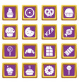 sweets candy cakes icons set purple square vector image vector image